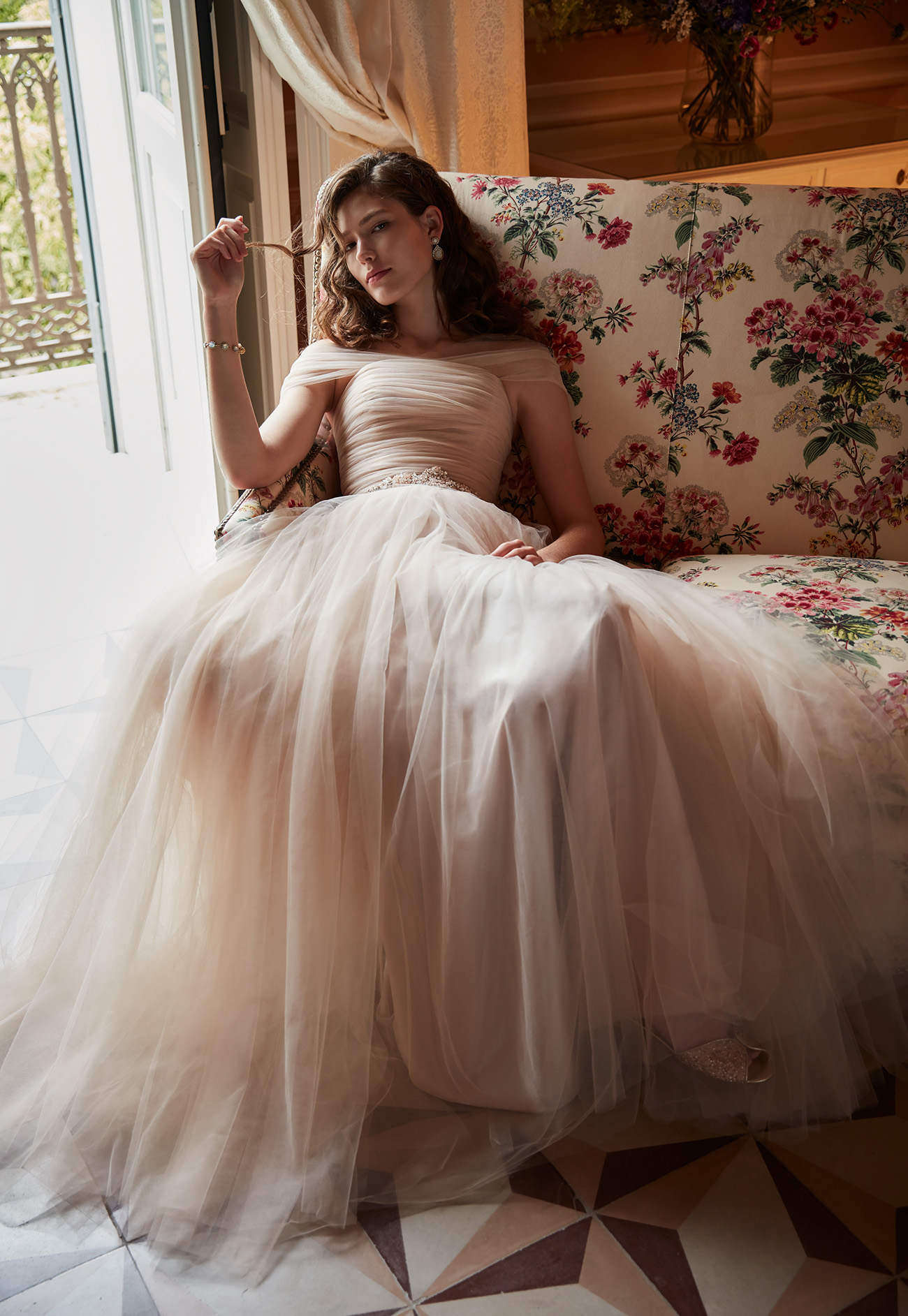 BHLDN dress in blush tulle