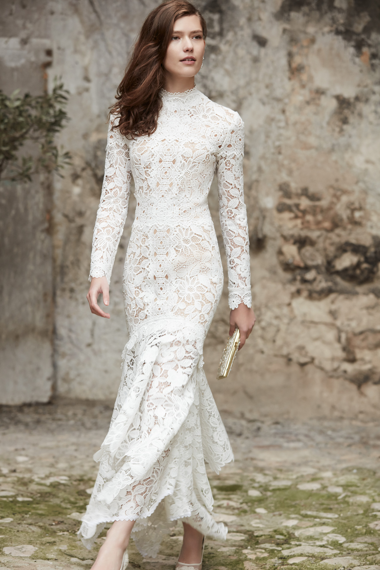 BHLDN lace wedding dress