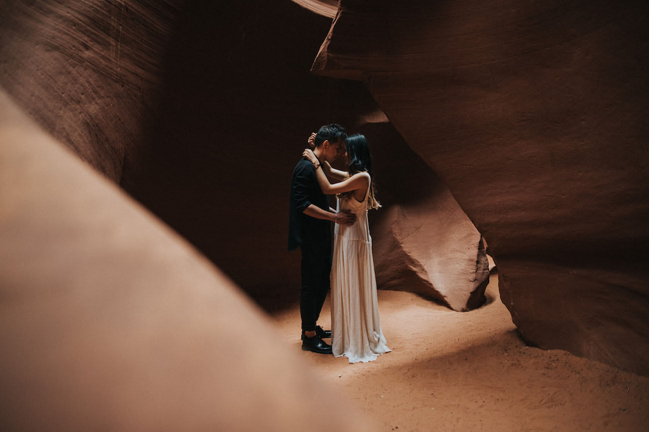 Moody Engagement Photos in Antelope Canyon