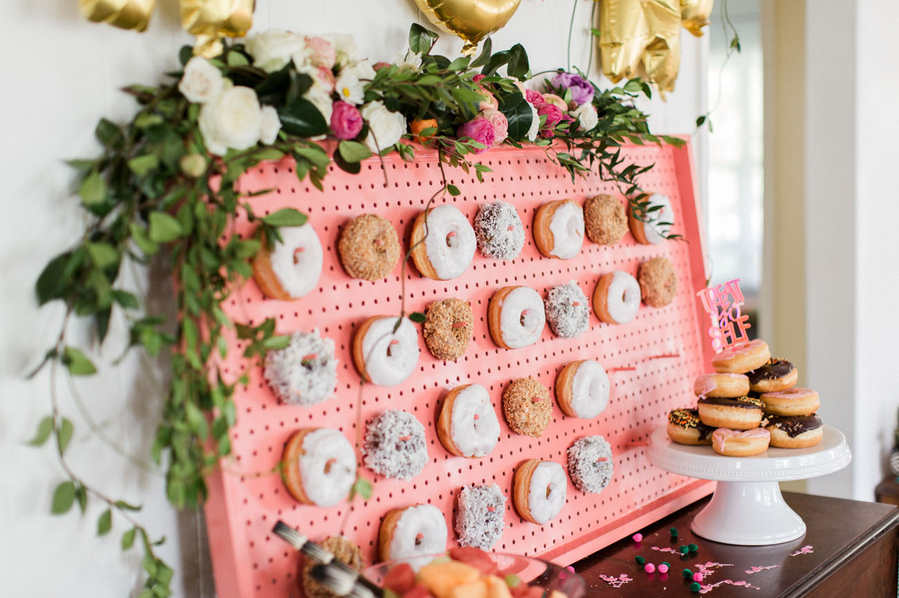 Tropical inspired bridal shower with a donut wall green What to buy for a bridal shower