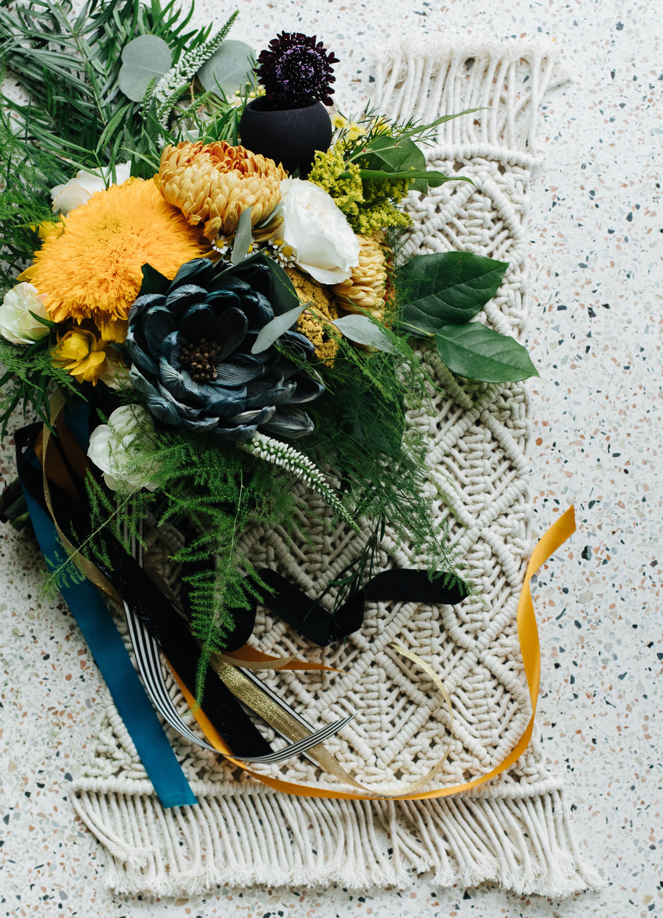 blue and yellow bouquet