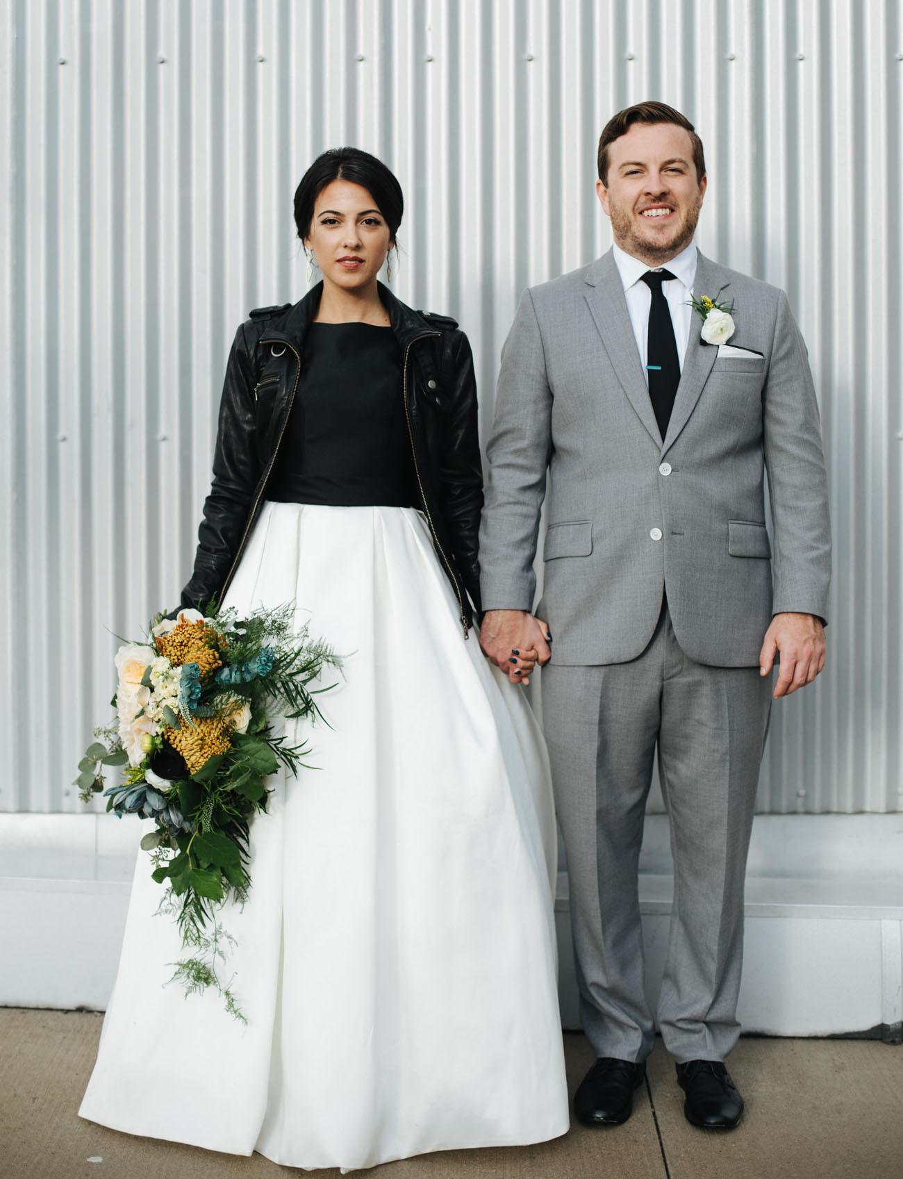 leather jacket bride