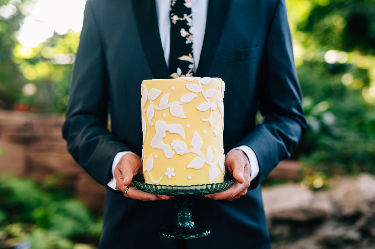 yellow lace cake