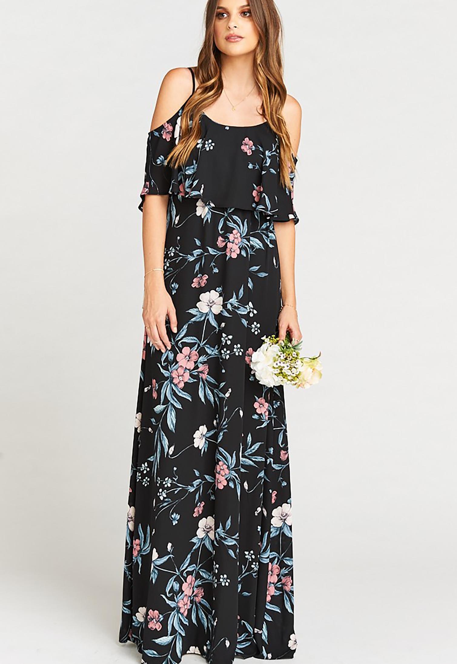 Caitlin Ruffle Maxi Dress Green Wedding Shoes