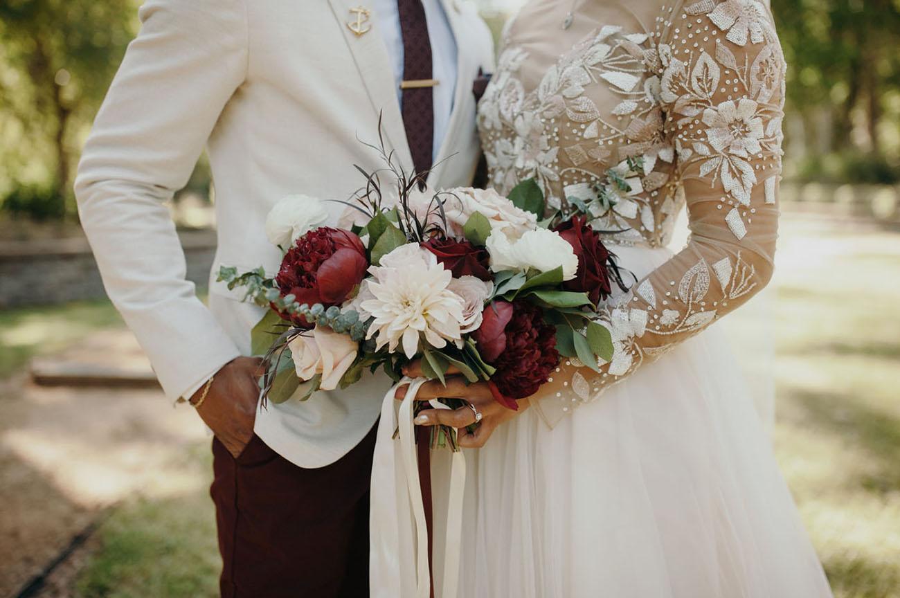 Can You Wear Cream To A Wedding: Burgundy + Cream Rustic Chic Texas Wedding