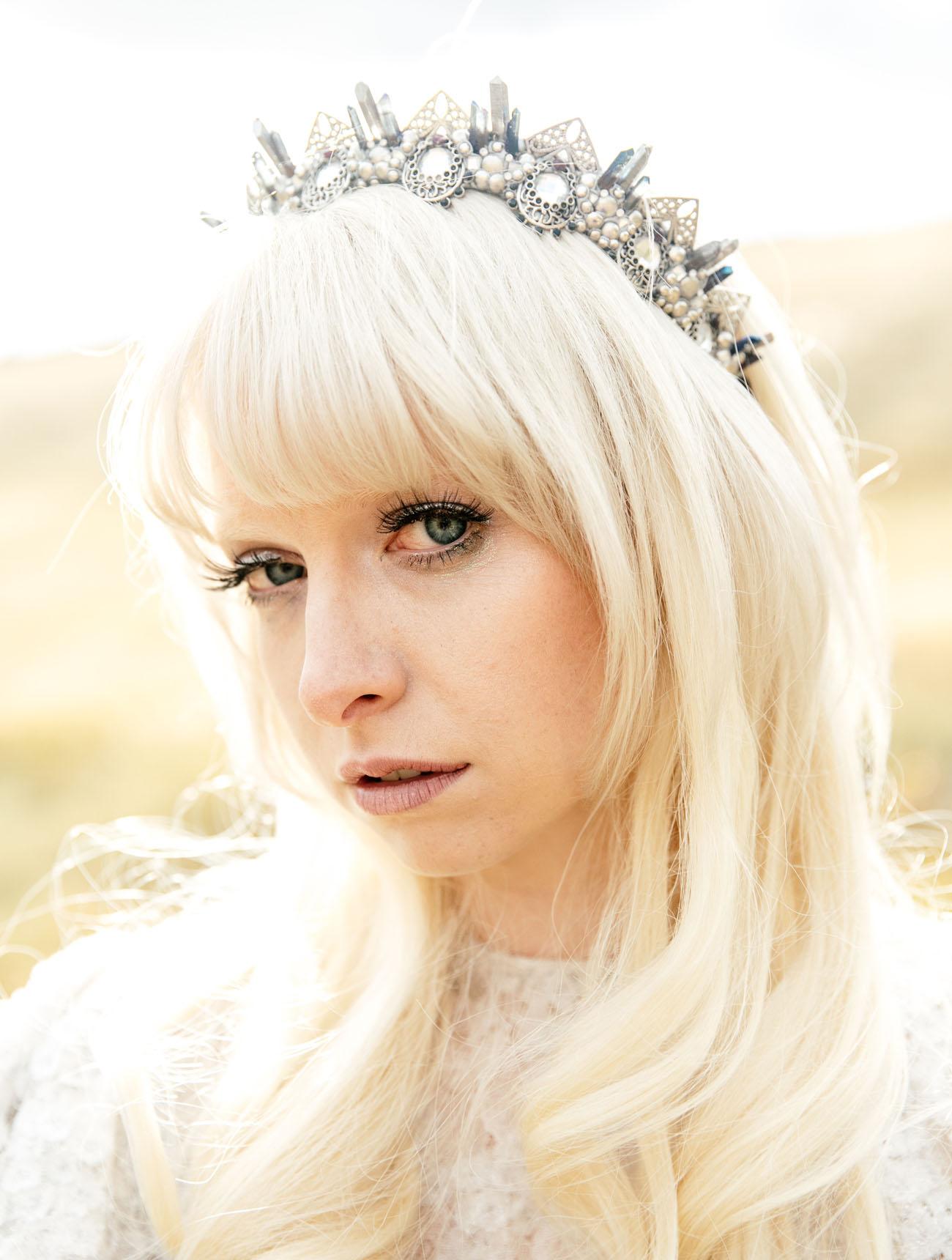 silver bridal crown