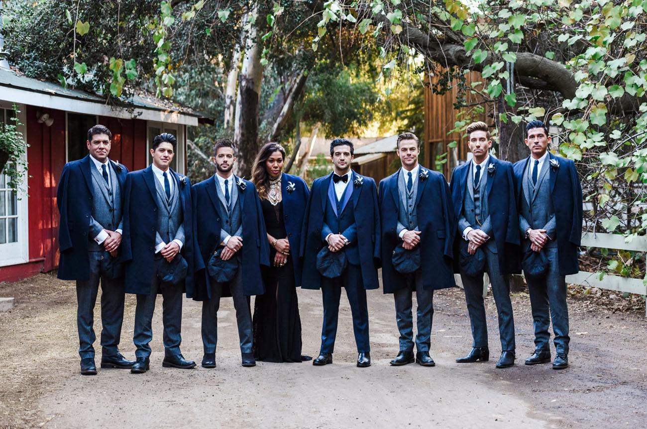 coated groomsmen