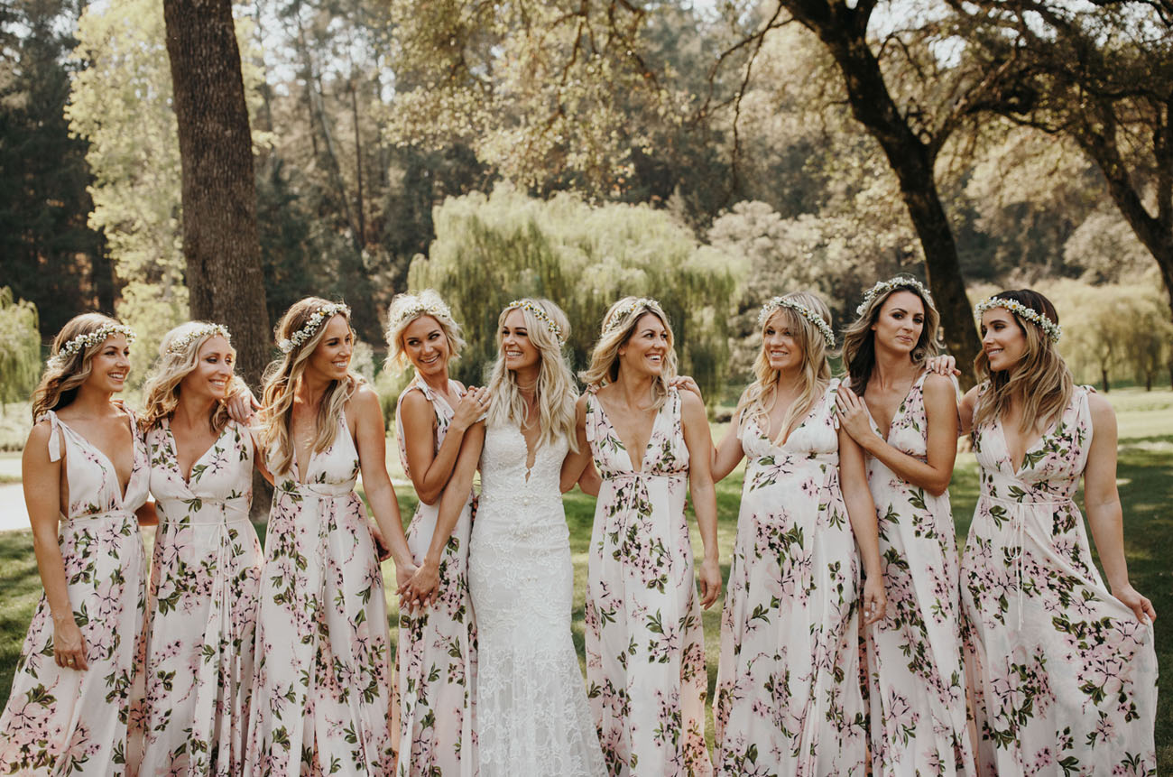 floral bridesmaid dresses beach wedding