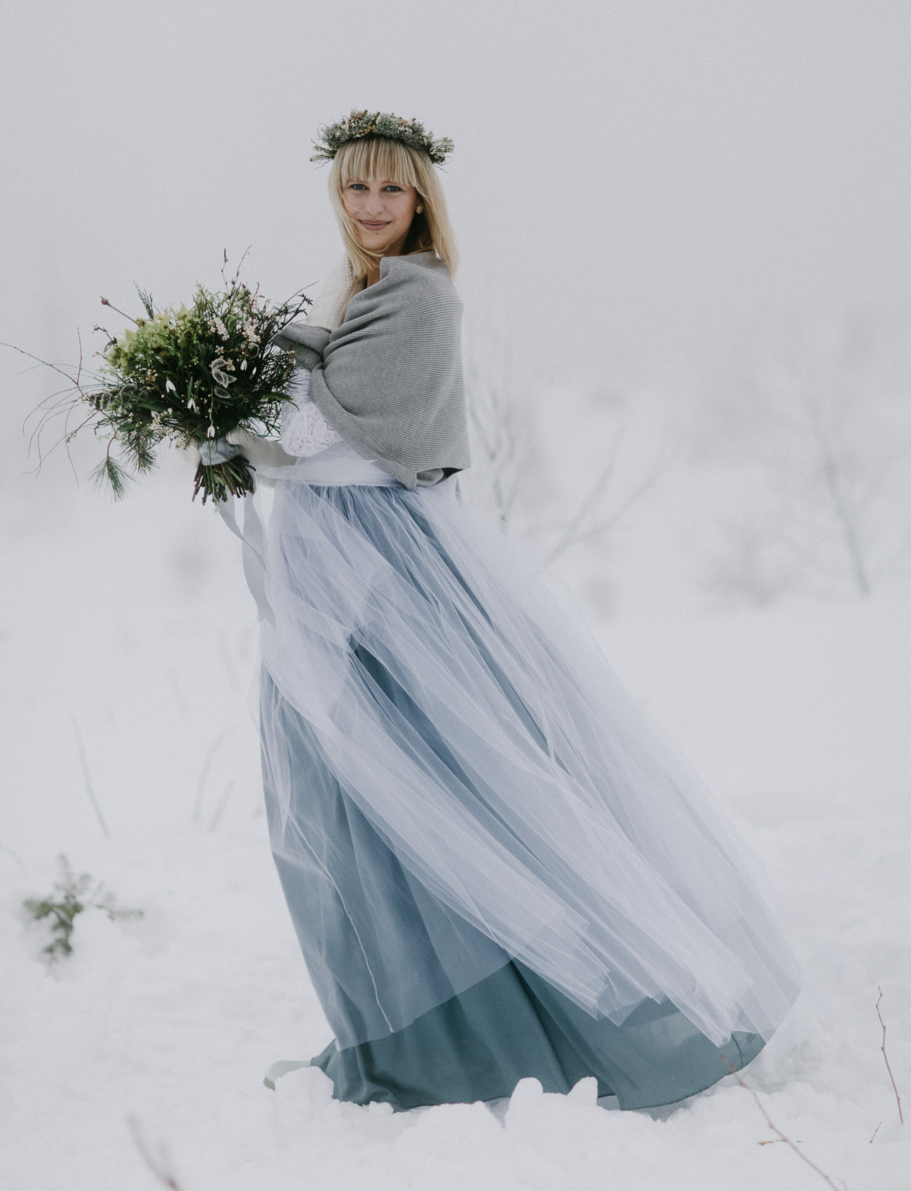 winter tulle skirt bride