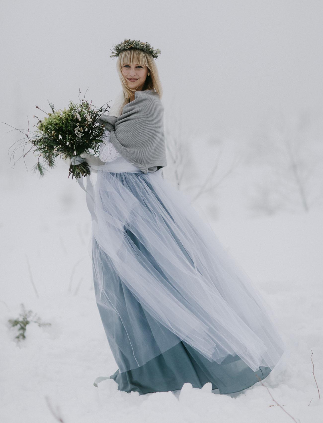 winter tulle skirt bride