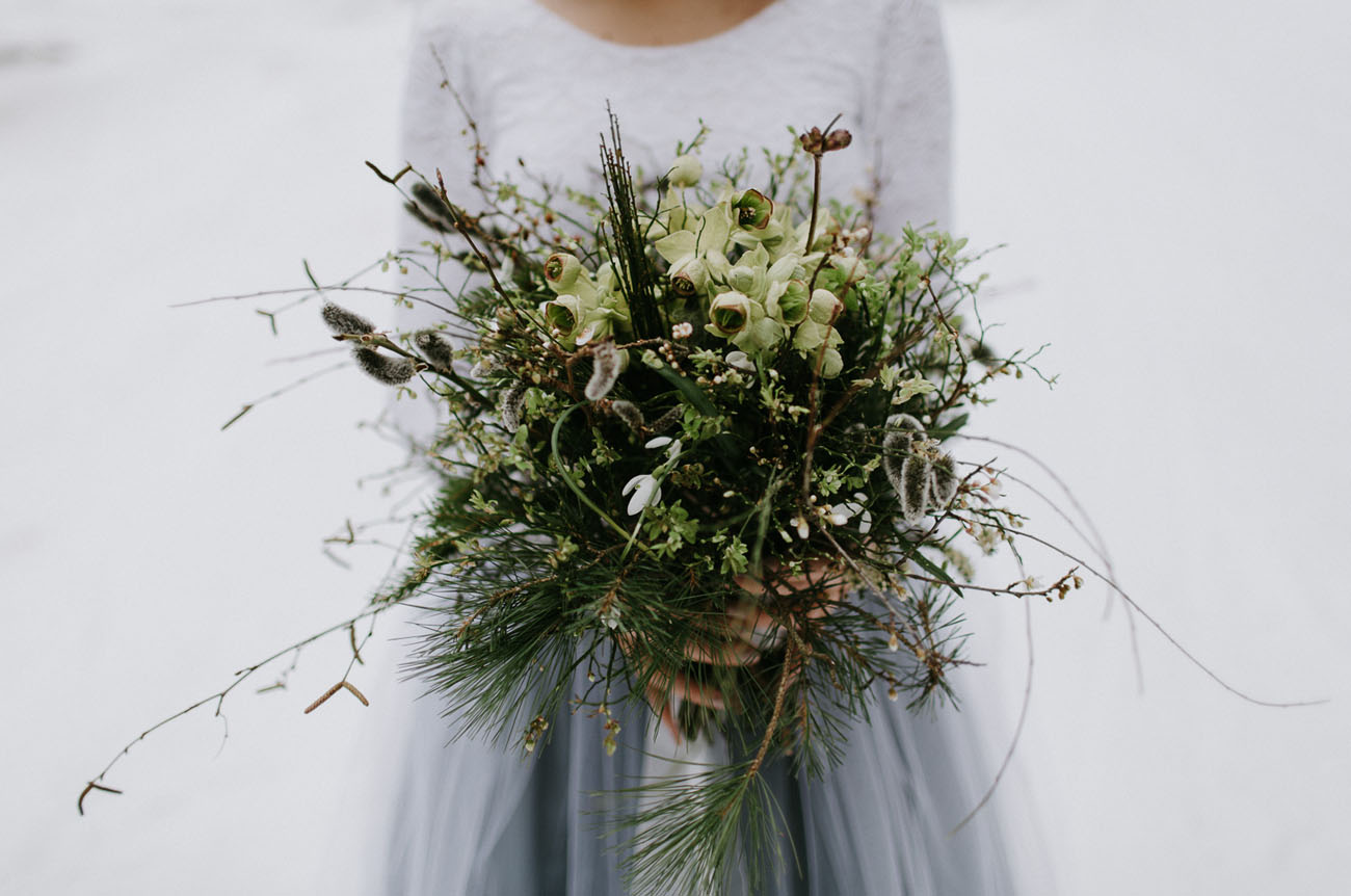 winter greenery bouquet