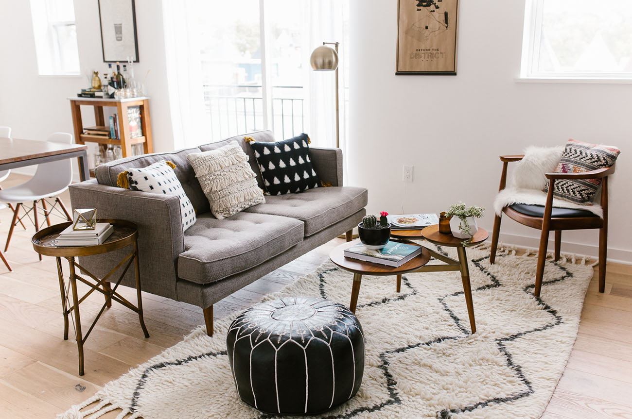 Home tour mid century modern boho inspired condo - How to decorate mid century modern on a budget ...