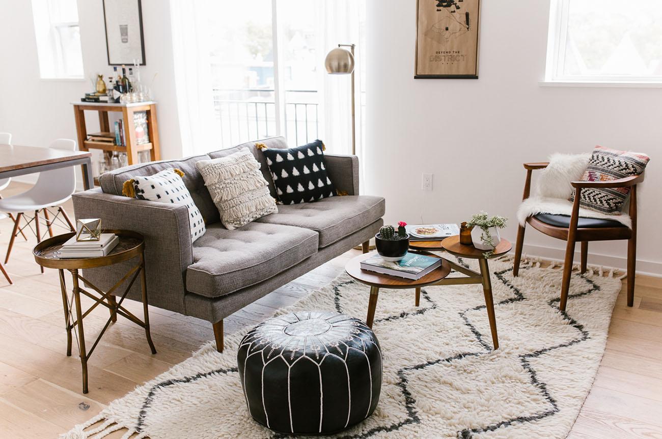 Boho Modern Living Room: Home Tour: Mid-Century Modern + Boho-Inspired Condo