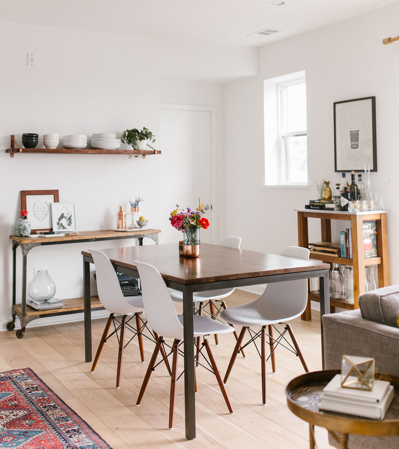 Mid Century Dining Room: Home Tour: Mid-Century Modern + Boho-Inspired Condo