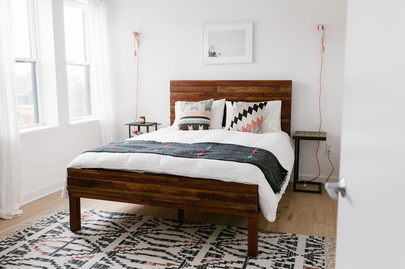 Home Tour: Mid-Century Modern + Boho-Inspired Condo ... on Modern Boho Bedroom  id=64528
