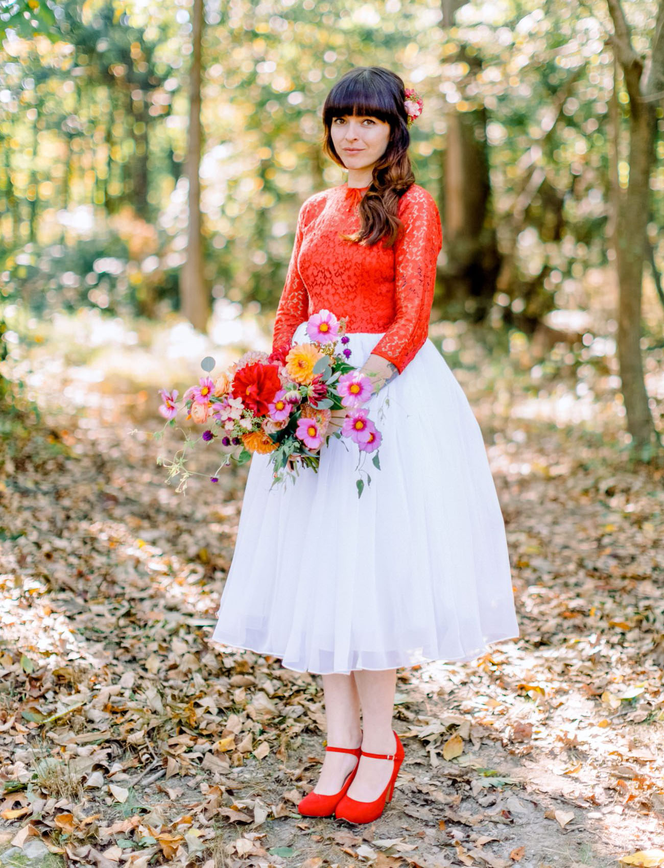 red lace top bride