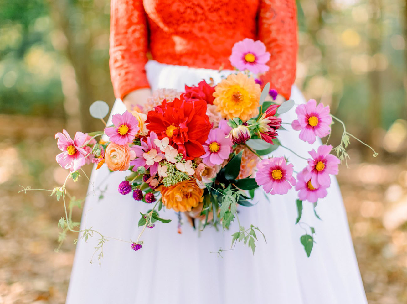red and purple daisy bouquet