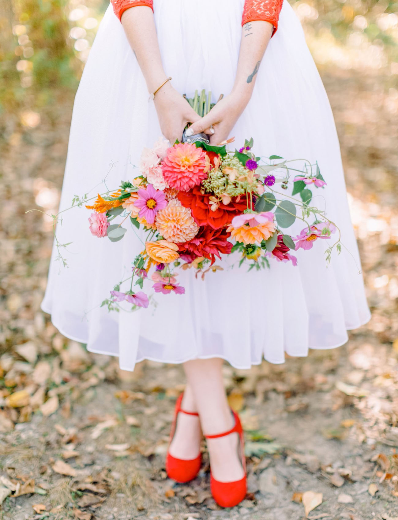 colorful red heeled bride