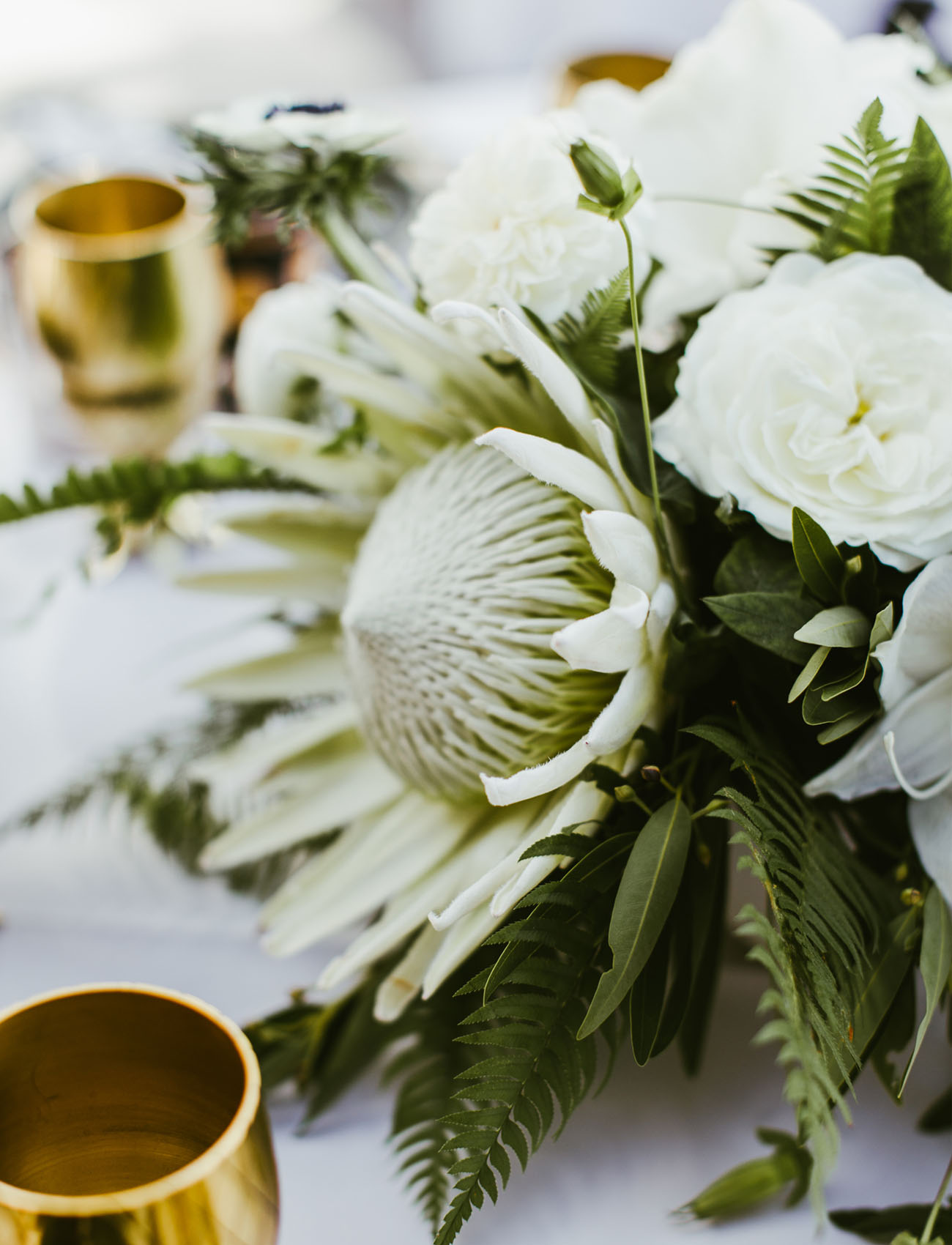 white protea centerpiece