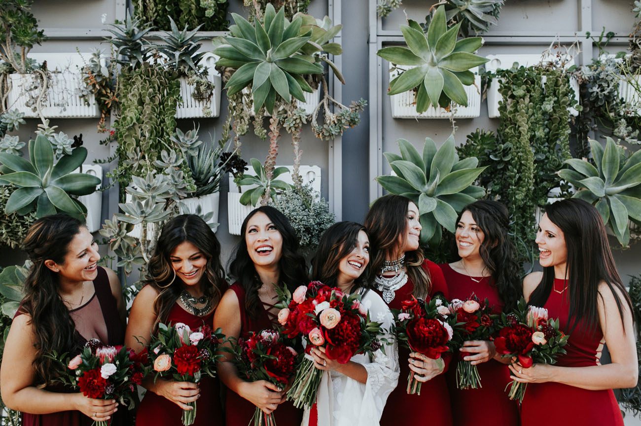 deep red bridesmaids