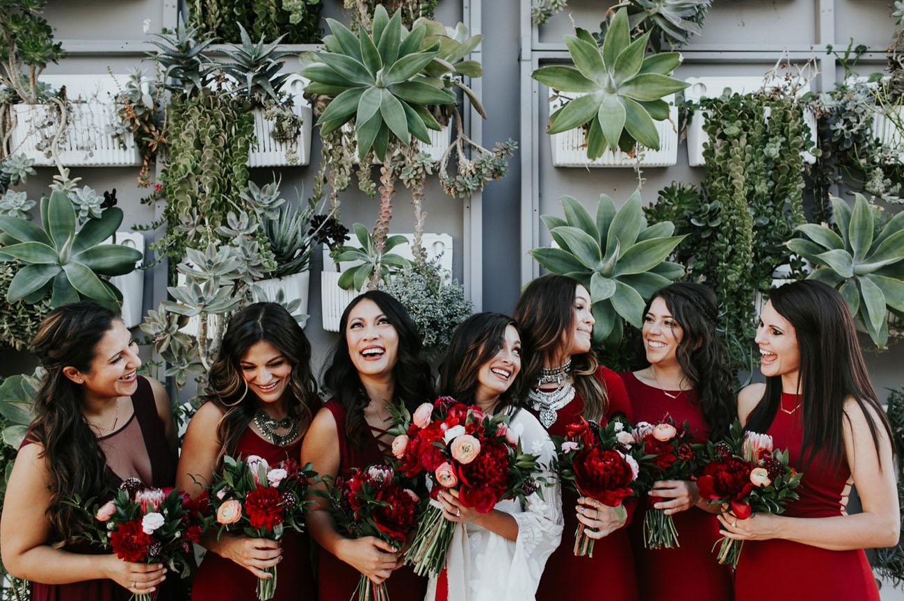 deep red bridesmaids