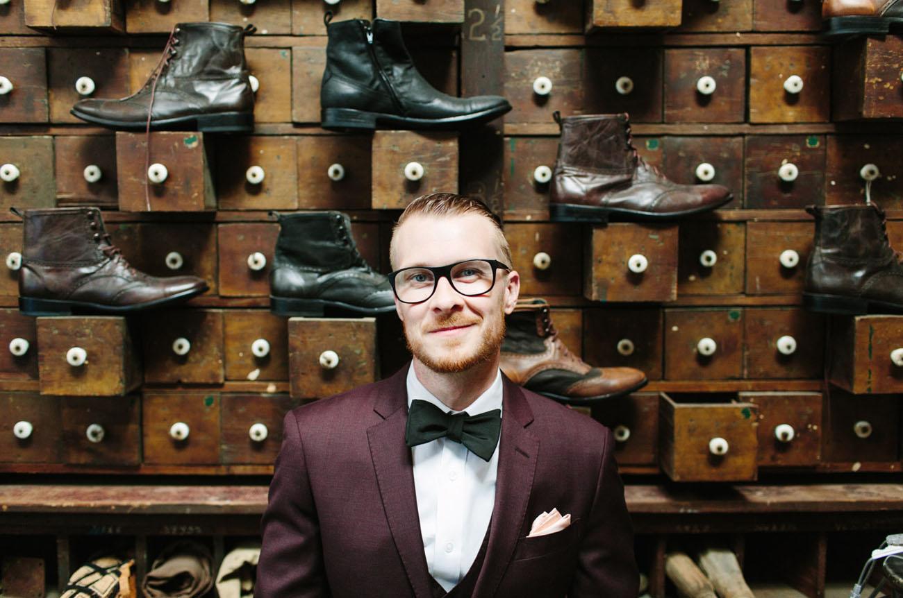 maroon suit groom