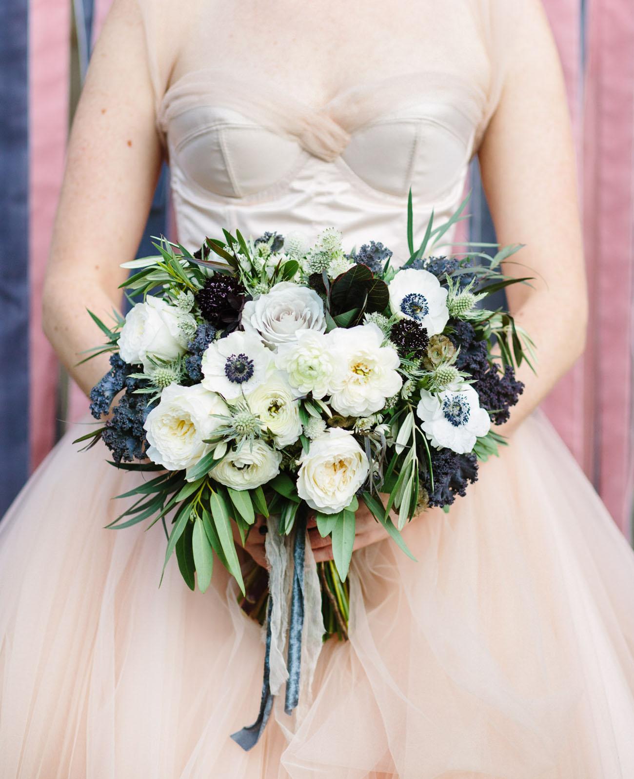 dusty blue anemone bouquet