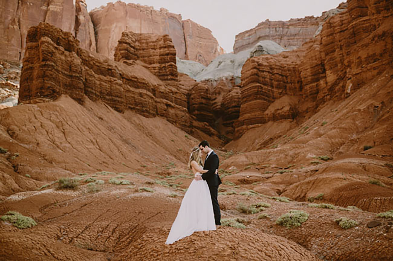 Sunset Point in Capitol Reef National Park, Utah offers you some exercise to get there, then magical views for your elopement ceremony