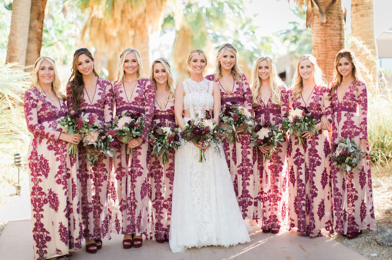 Desert Chic Wedding with Bold Embroidered Bridesmaids Dresses
