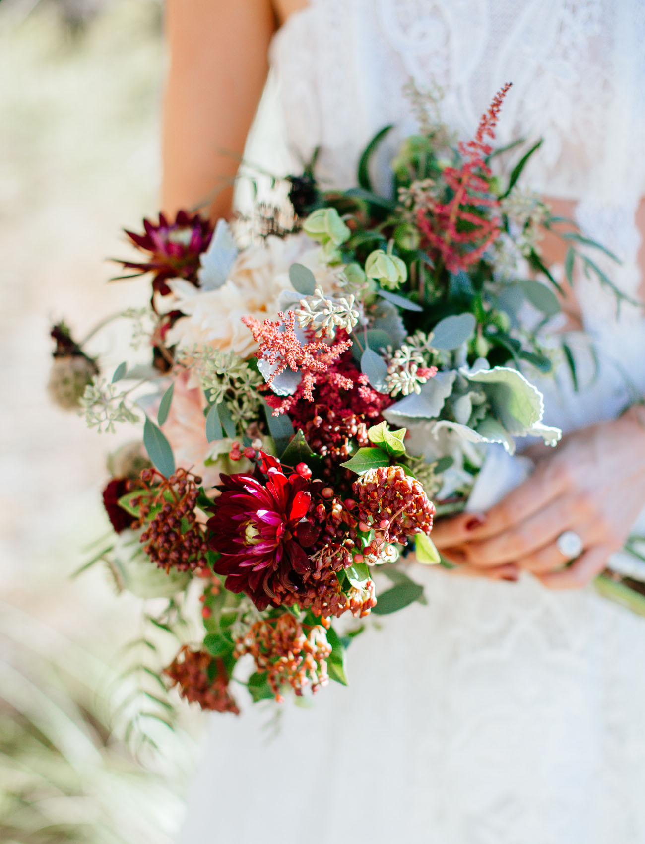 burgundy desert bouquet