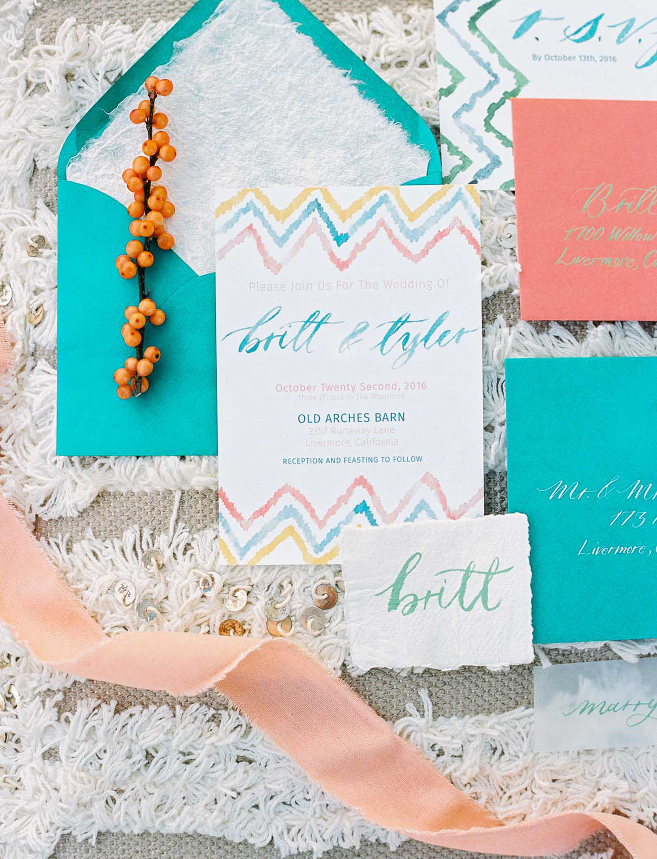 colorful chevron invitation