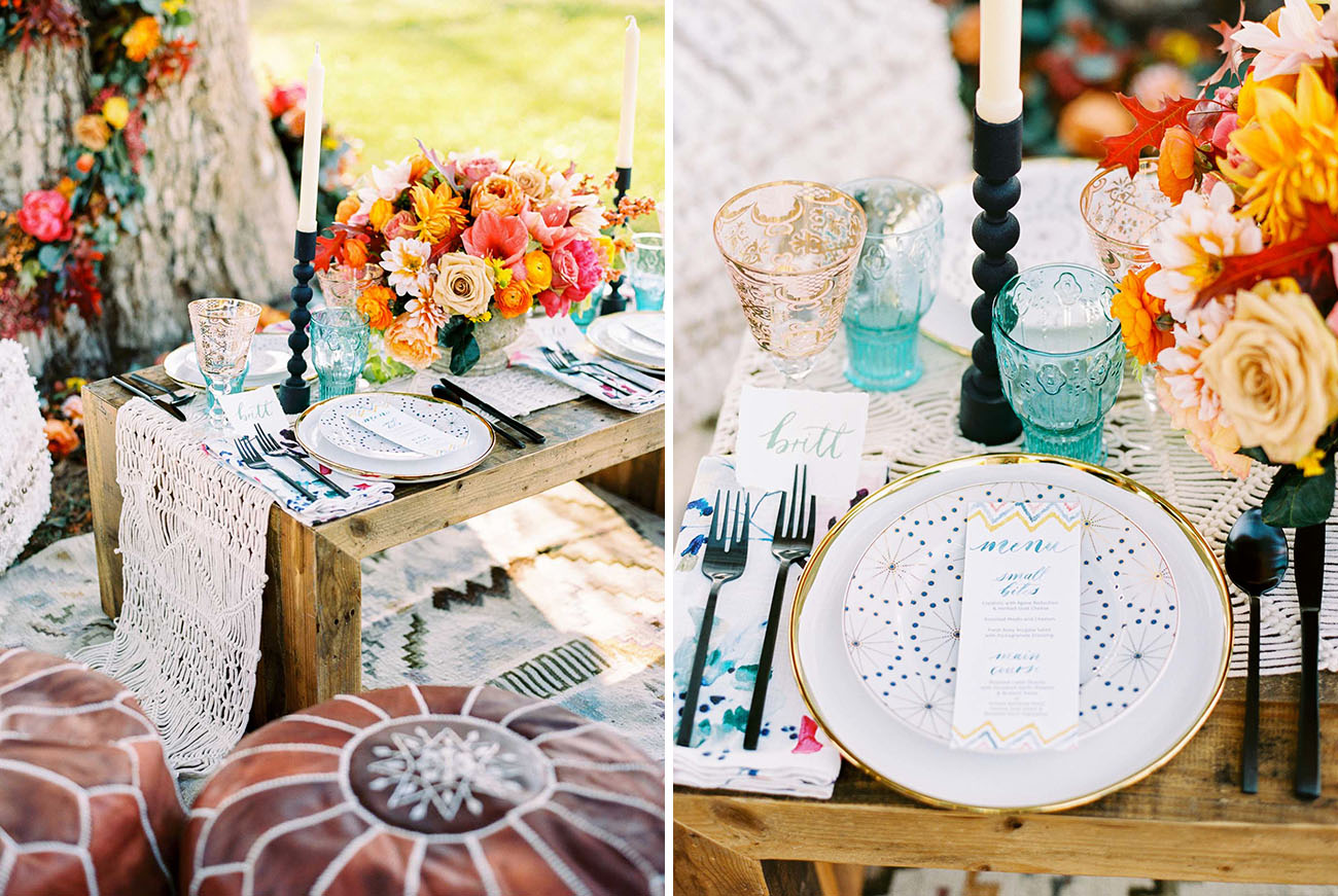 choose wedding color scheme - Colorful Fall Inspiration with light blue, orange and pink