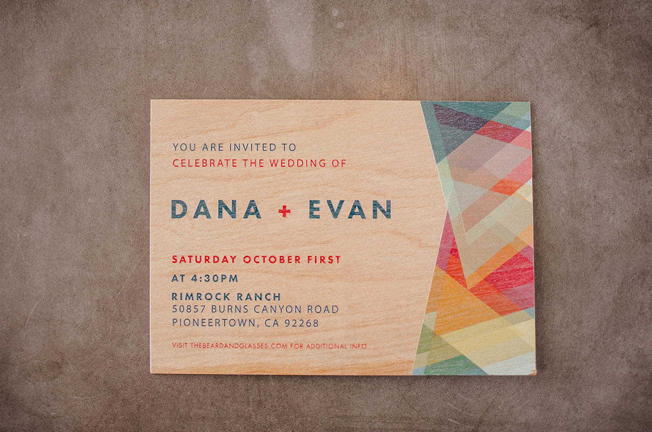 wooden wedding invitation