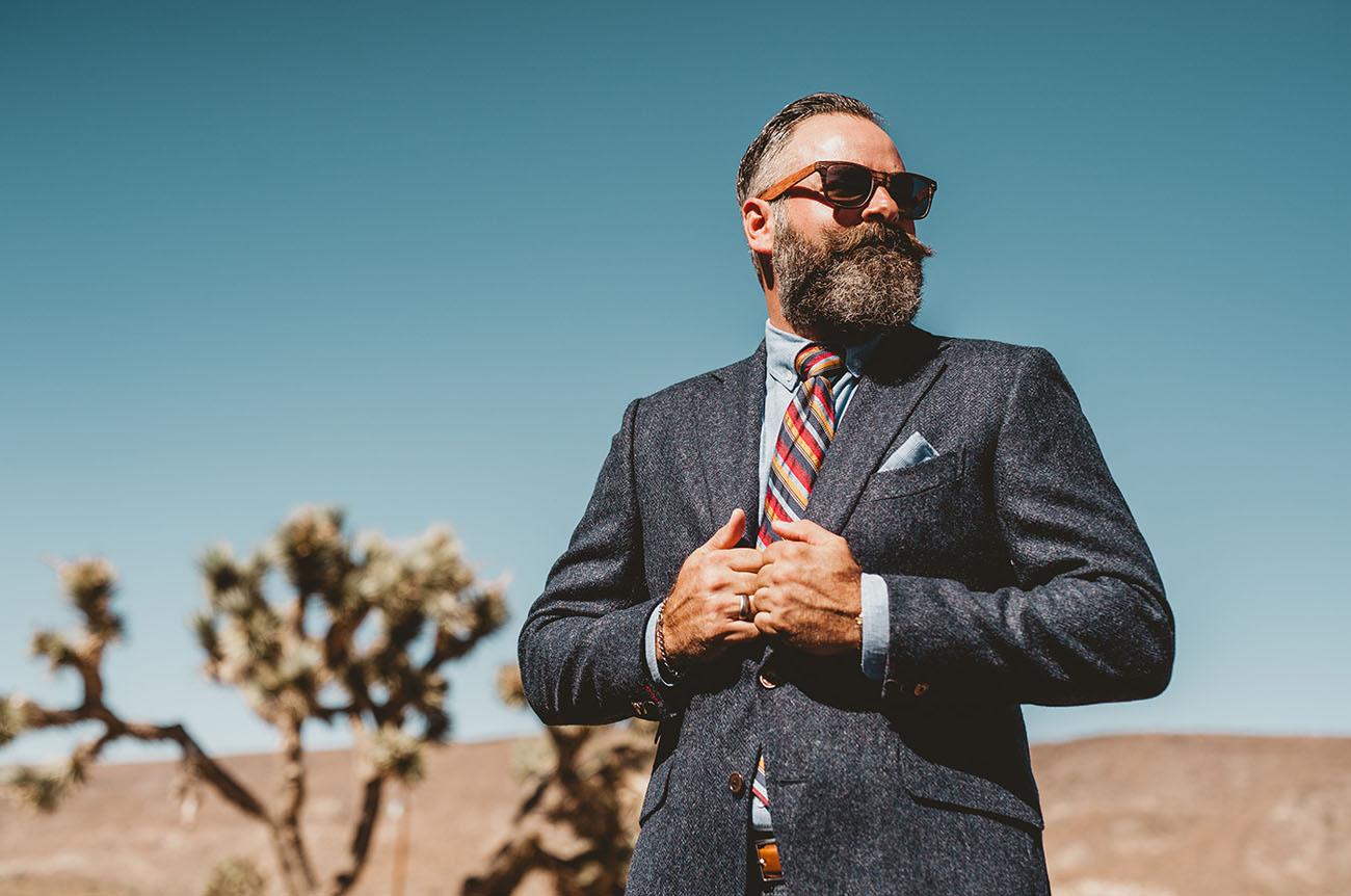 blue tweed groom