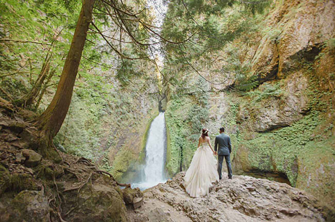 Find a secret waterfall and create your own place to elope....or head to Wahclella Falls in Portland, Oregon for this view