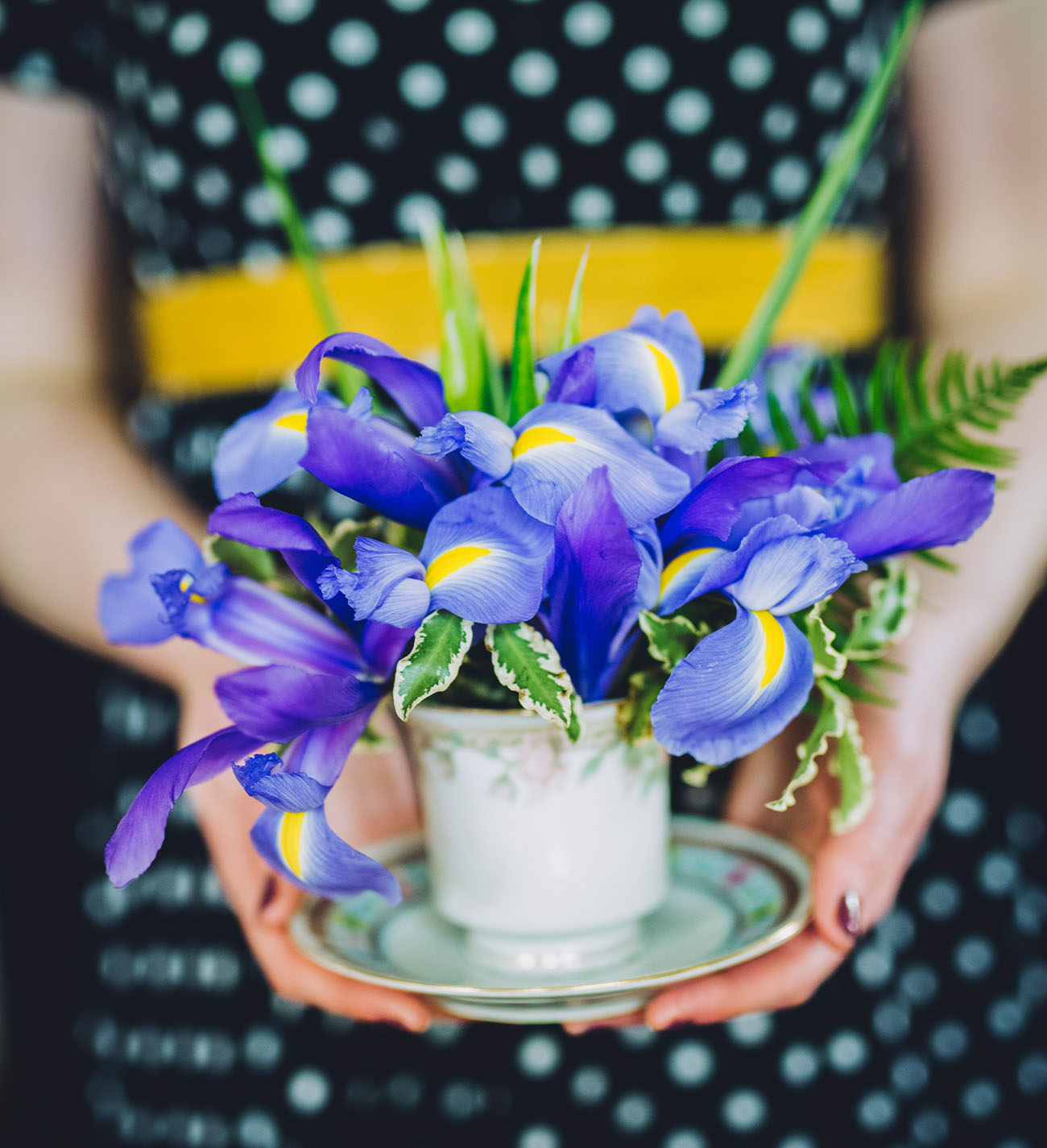 purple iris arrangement