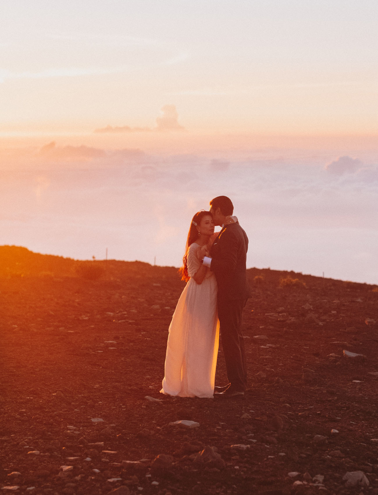 Haleakala Crater on Maui is a great place to elope at sunrise and take in the magical views Hawaii offers its visitors