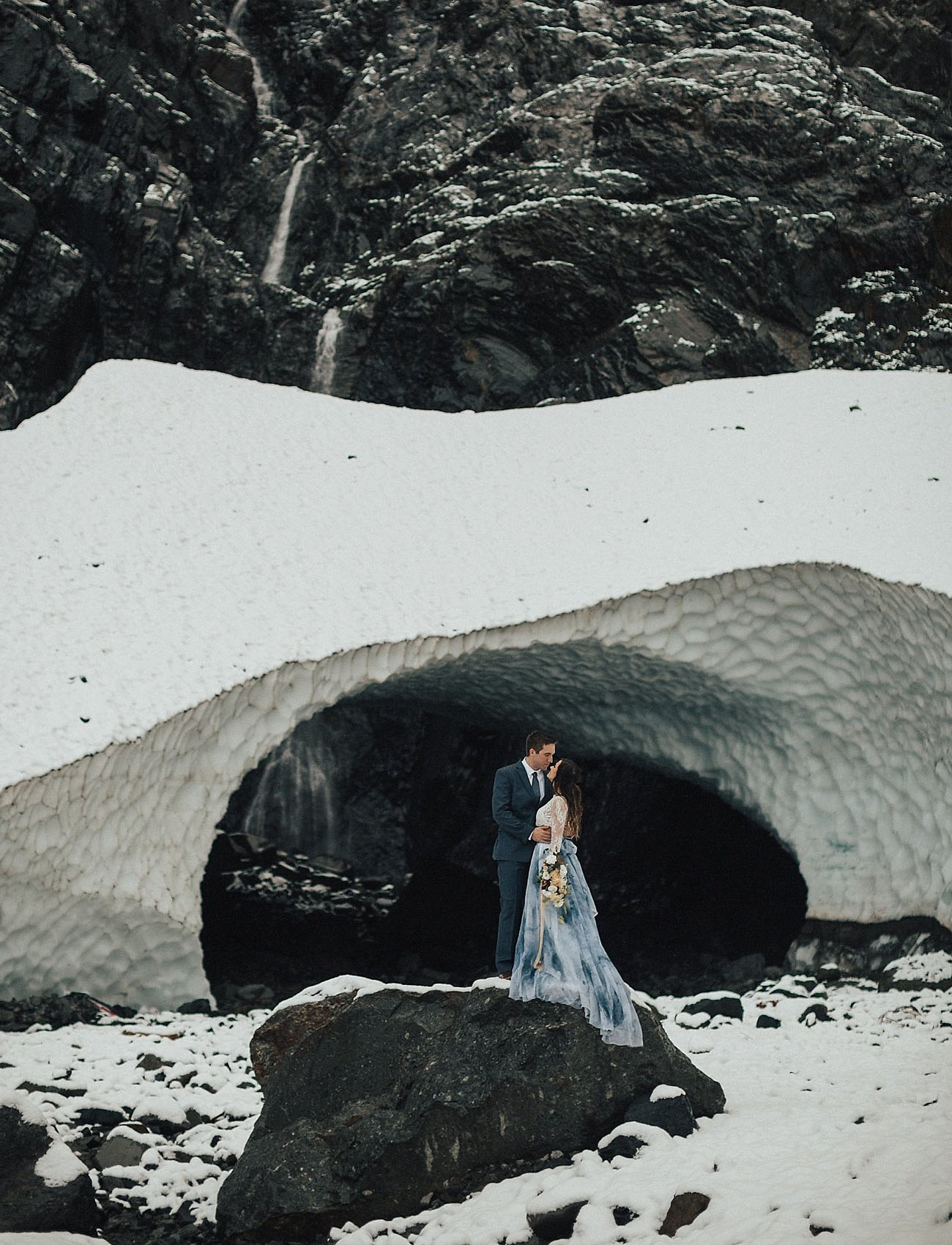 Adventurous couples can explore the Pacific North West to find the perfect ice cave and elope there
