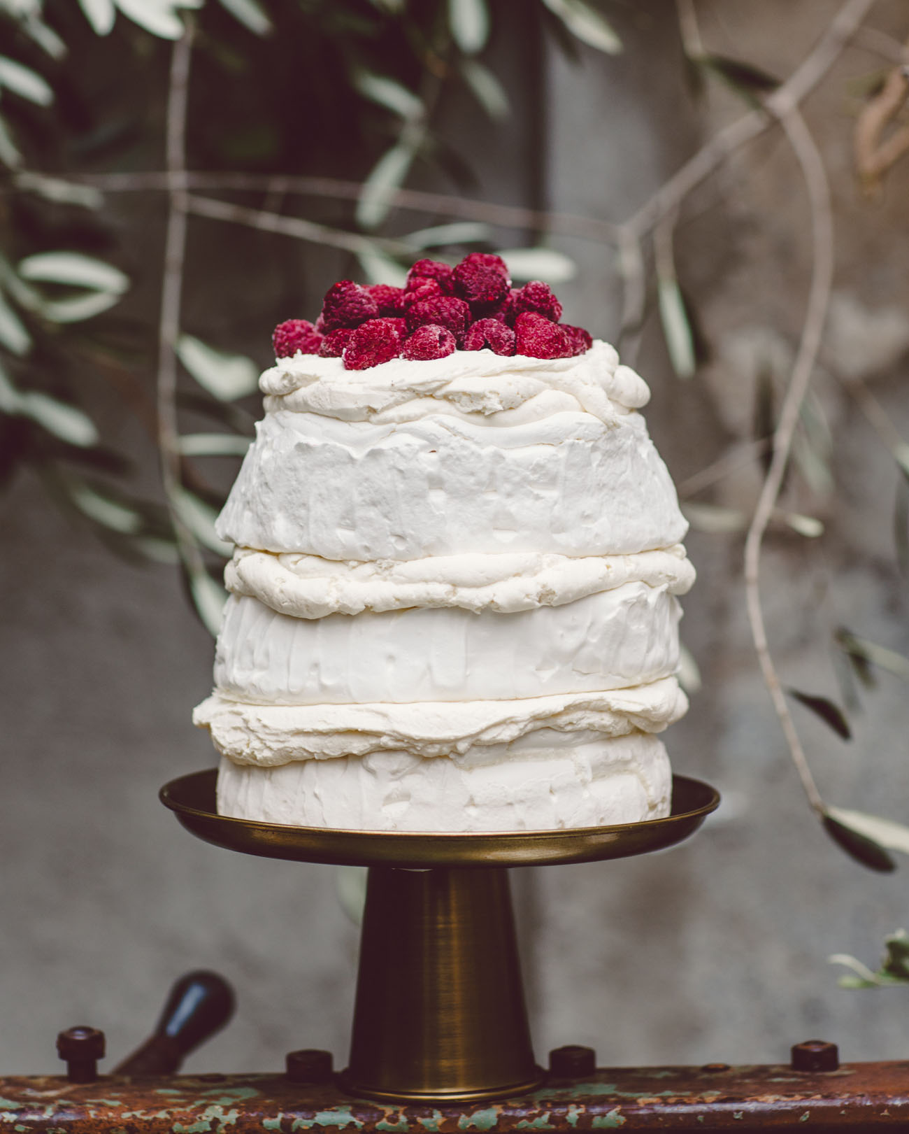 white and raspberry cake