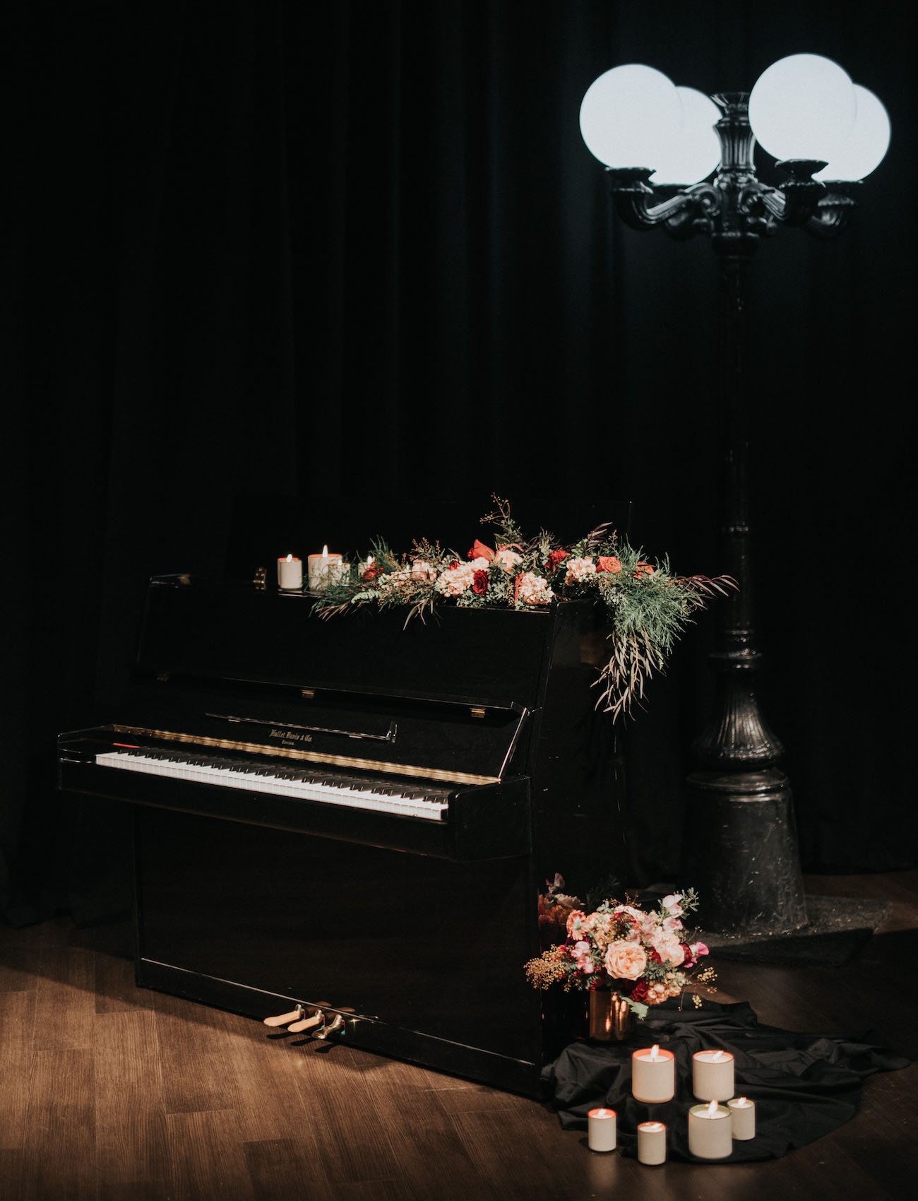 flowers on piano