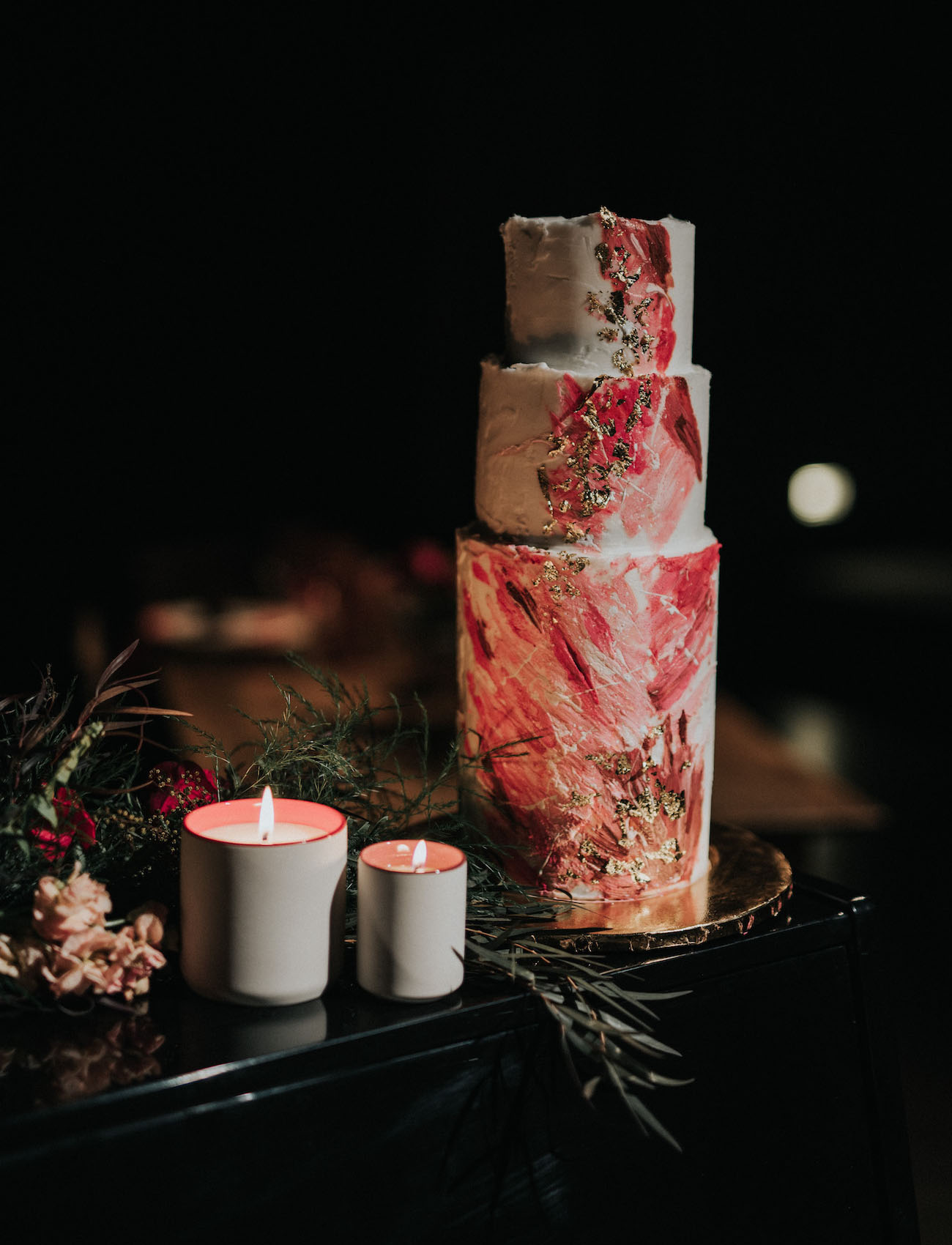 red watercolor wedding cake