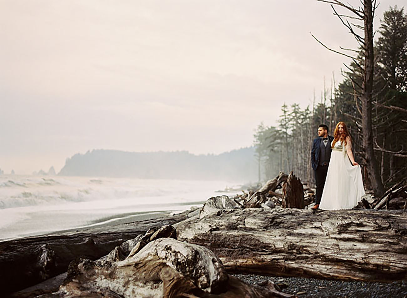 Olympic National Park in La Push, Washington is a treelined coast with the sound of waves to accompany your elopement