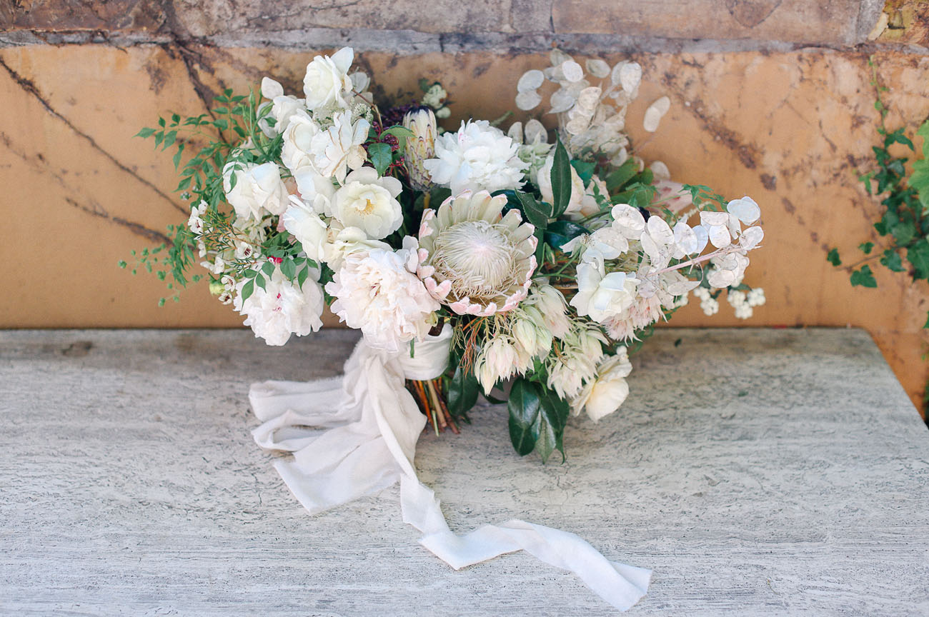 loose white protea bouquet