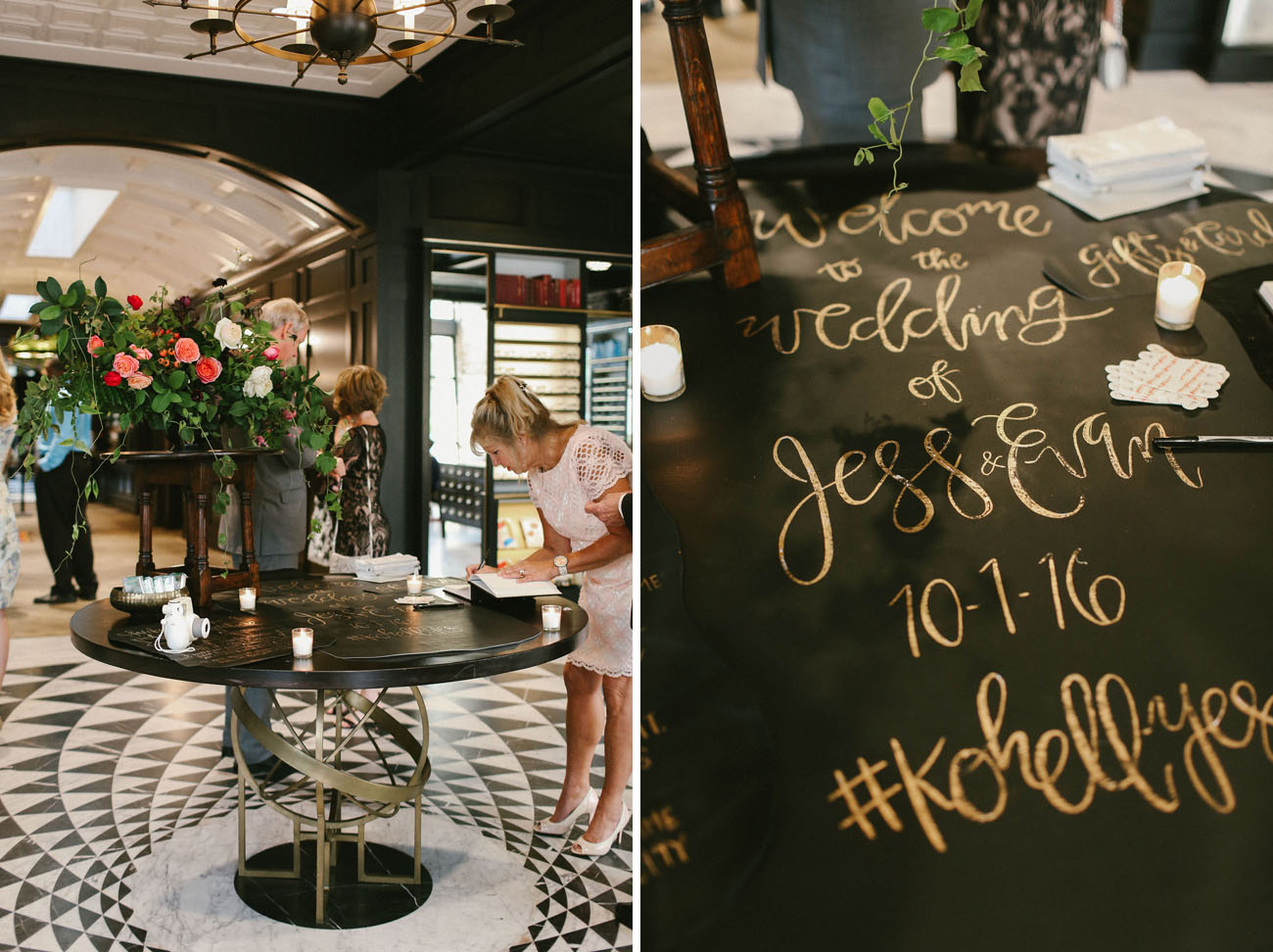 black and gold guest book