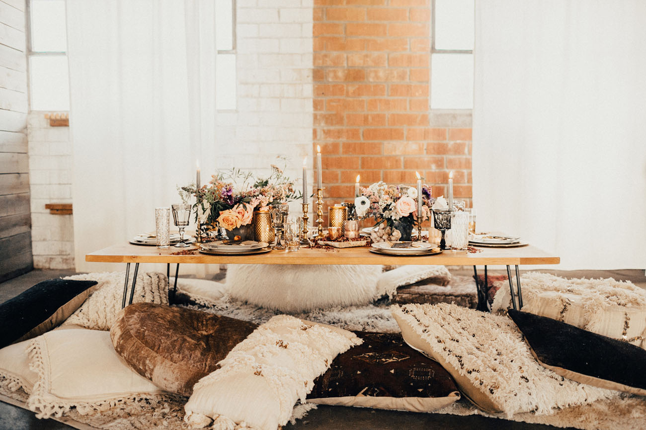 boho galentines tablescape