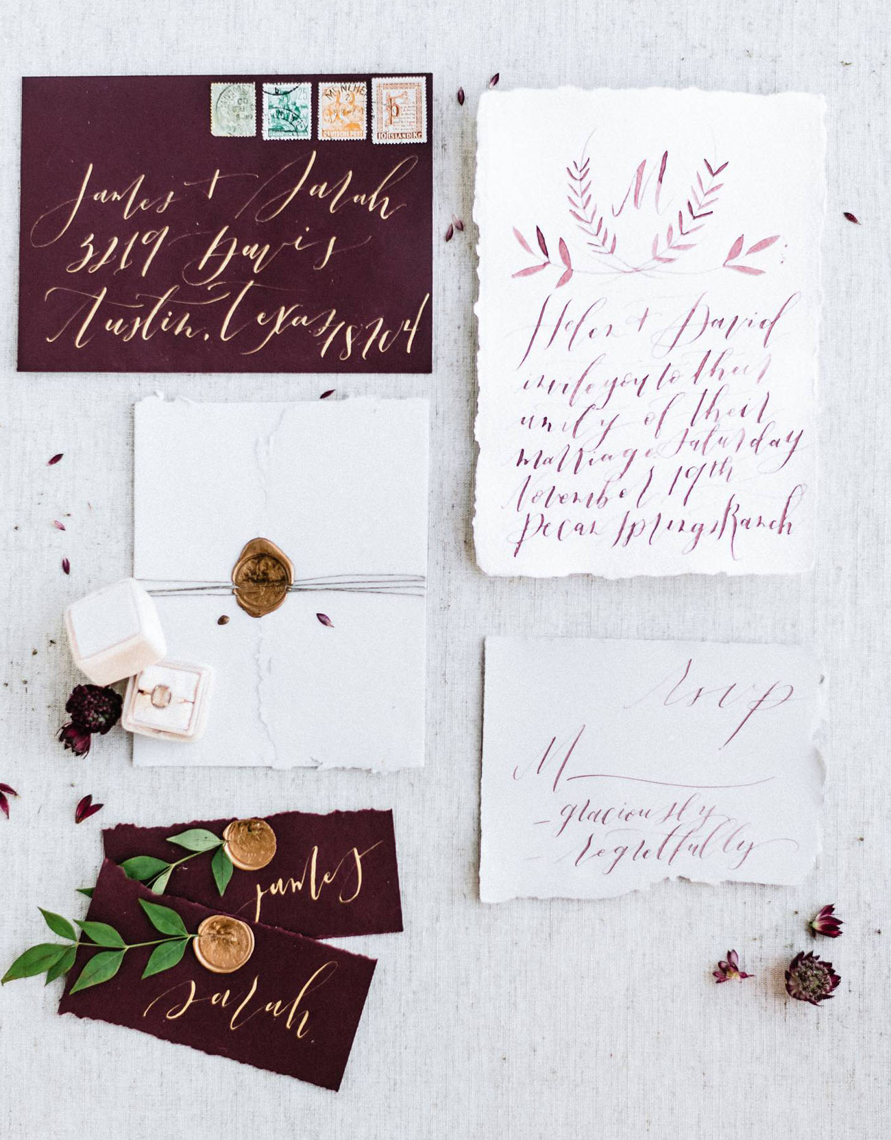 maroon calligraphy invitation