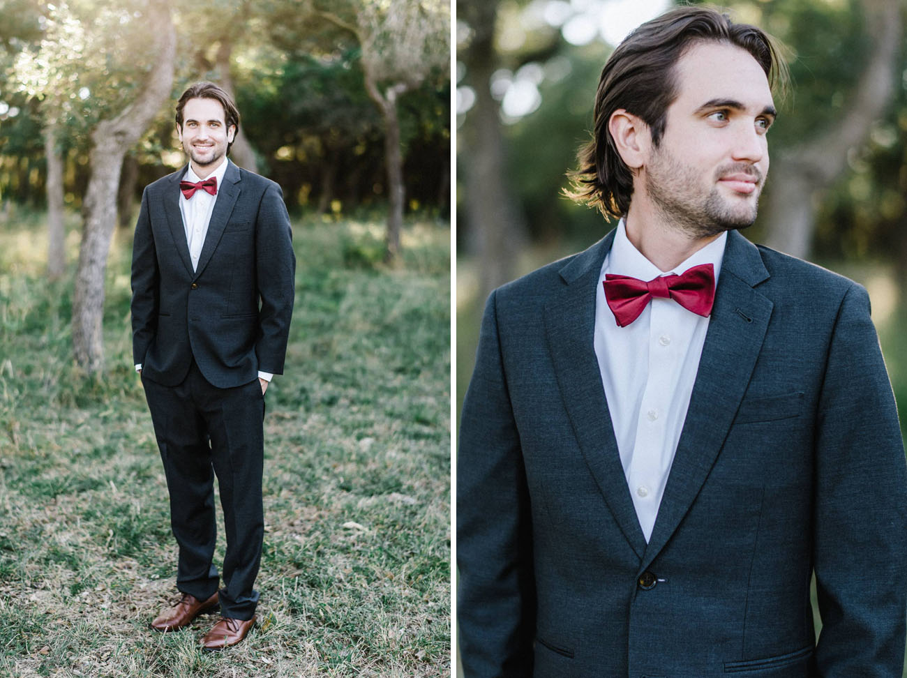 red bow tie groom