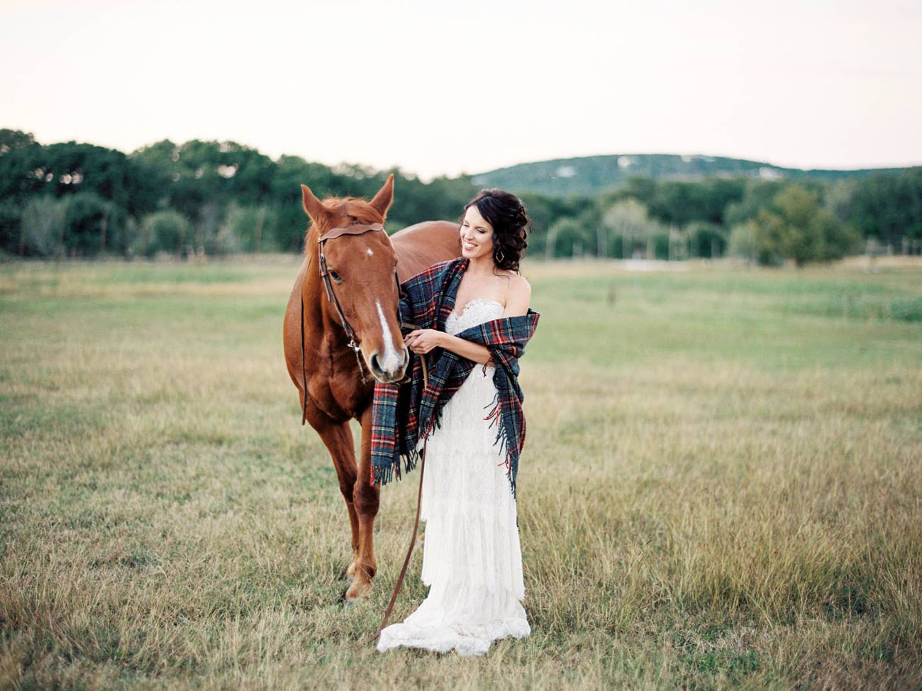a bride and horse