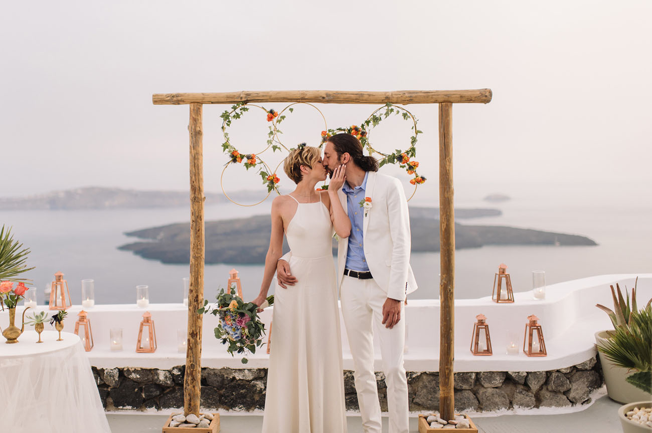 Santorini Greece is full of views and romance, perfect for eloping or celebratory trip
