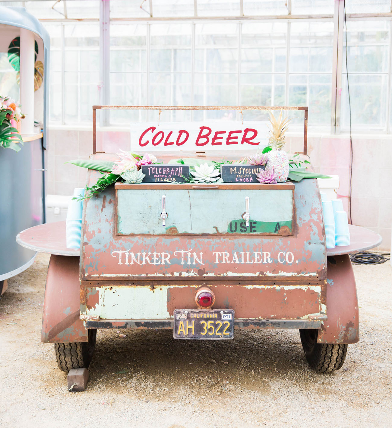 vintage car beer cart